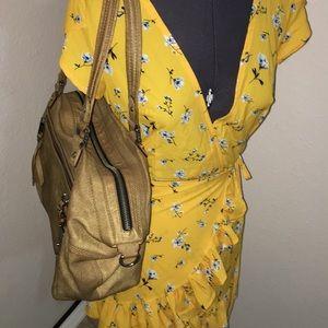 L.A.M.B. Shoulder bag w crossbody tan gold EUC